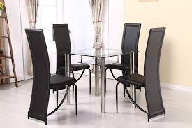 glass chrome dining table chairs