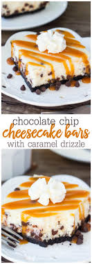 these chocolate chip cheesecake bars are smooth and creamy with a crunchy oreo cookie crust