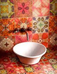 bathroom colourful tile tiles
