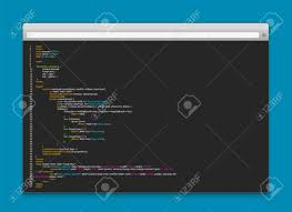 Creative vector illustration of programming HTML code on computer..
