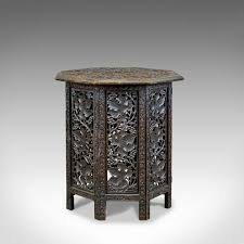 antique campaign table carved asian teak side early 20th century circa 1900