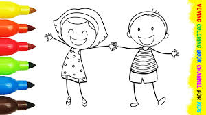 Small Picture Coloring Pages Girl and Boy Fun Art Activities Coloring Book with
