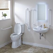 White Bathroom Suite White Doc M Pack Disabled Bathroom Toilet Basin And Grab Rails 235