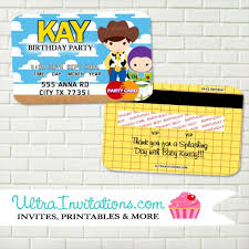 Credit Card Party Invitations Toy Story Birthday Invitations _ Credit Card Design New