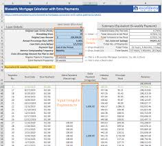 Mortgage Refinance Calculator Excel Biweekly Home Mortgage Calculator With Extra Payments Free