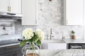 Twotoned Gray And White Cabinets Marble Subway Tile Carrara Countertops  A Cabinets With Countertops T99