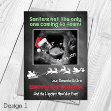 Personalised Christmas Pregnancy Announcement Cards Santa Hat On Baby Scan Ebay