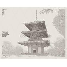 水彩でも楽しめる斑鳩岡本の三重塔写図塗り絵細密写実風景画