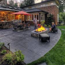 Concrete patio designs with fire pit Colored Concrete Concrete Patio Idea Patio Design Ideas Outdoor Dining Furniture Fire Pit Stamped Decorative Concrete Incredibleoralcarestoreinfo Concrete Patio Idea Stamped Concrete Backyard Designs Beautiful