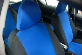 blue car seat covers c front closeup of custom seat covers with blue insert and black sides baby