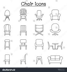stock vector chair furniture icon set in thin line style