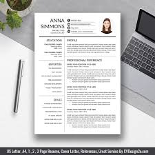 2019 Best Selling Office Word Resume Cv Templates Cover Letter References For Digital Instant Download The Anna Resume