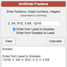 Fractions From Least To Greatest Chart Ordering Fractions Calculator