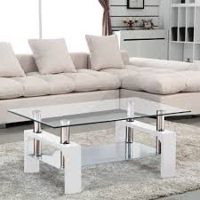 uenjoy glass coffee table white rectangular in oak drop gorgeous living room lamps for john lewis