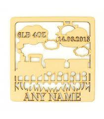 laser cut personalised box frame birth plaque train theme brand nightingale craft