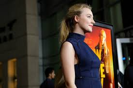 Saoirse Ronan busty and leggy wearing purple mini dress at How I.