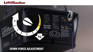how to adjust force on a liftmaster garage door opener with manual adjustment controls