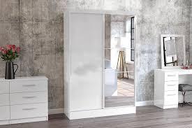 birlea lynx 2 door sliding wardrobe with mirror high gloss white co uk kitchen home