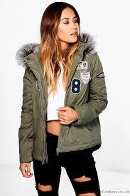 womens clothing coats jackets saskia short badge faux fur collar parka khaki r8gcldyg clothes uk