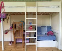 Custom White Wooden Bunk Bed With Sectional Desk And Futon of