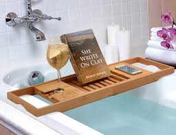 wooden bathtub reading tray caddy with book and wine holder plus phone shelves ideas