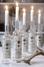 Add scrapbook paper to wine bottles and use them as interesting candle  holders for an event