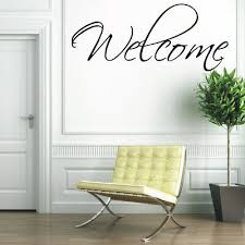 welcome wall quote sign decal entrance