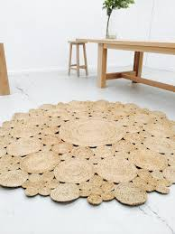 C Modern Round Jute Rug Flower 3 Sizes 90cm 120cm 180cm By The Wood Room 8