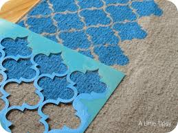 continue aligning the stencil and moving across your rug the bigger your stencil the easier it will be since you won t have to align and move it as much