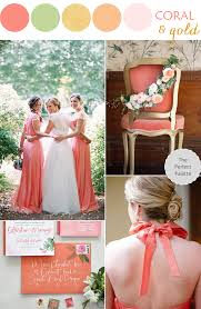 Coral Color Combinations Wedding Color Palette Coral Green Gold Coral And Gold