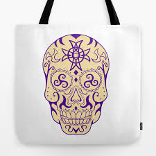 Mexican Skull With Triskele And Celtic Cross Tattoo Tote Bag