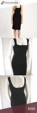 Dolce Gabbana D G Fitted Black Pencil Dress Square Neck