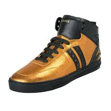 versace men s gold leather hi top fashion sneakers shoes 0