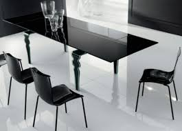 contemporary black glass dining table feature rectangular shaped
