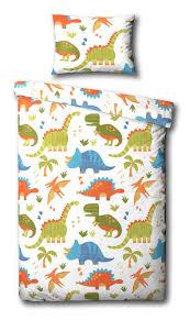 children s dinosaur junior toddler duvet cover bed set inc pillowcase white orange green blue co uk kitchen home