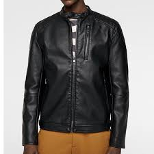 black faux leather jacket 1020 by di pelle