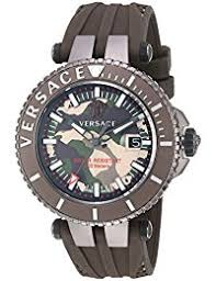 amazon co uk versace watches versace men s v race swiss quartz stainless steel and silicone casual watch color brown model