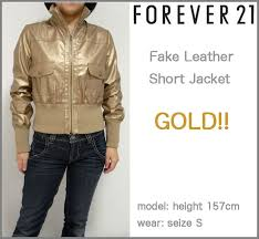 forever21 faux leather shorts length ribbed collar jacket color gold gold forever women s h m leather jean leather