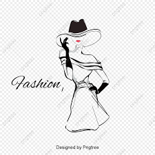 Fashion Girl Vector Wide Canopy Sketch Black And White Png