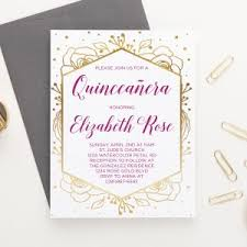 Invitations Quinceanera Floral Quinceanera Invite Archives Modern Pink Paper