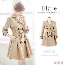 big color fleet trench coat trench coat big color flared hem around beautiful autumn