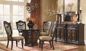 grand estates 5 piece round old world dining set with glass top pedestal table and