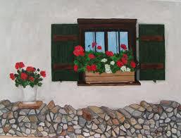 Bild Fensterladen Holzstapel Geranie Fenster Von Hans Joachim