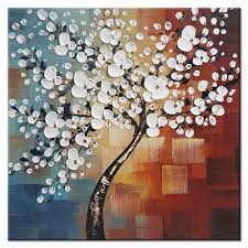 office decorations. Abstract White Flowers Artwork 100% Hand Painted Floral Oil Paintings  On Canvas Wall Art For Living Room Bedroom Home Office Decorations Decor Office Decorations