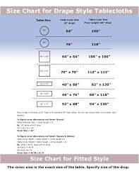 Tablecloth Sizing Chart Gary Manufacturing Inc