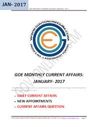 Goe Monthly Current Affairs January 2017 Manualzz Com