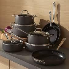 all clad ha1 hard anodized non stick 13 piece cookware set aluminum crate barrel