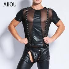 aiiou y mens undershirts mesh transpa stitching faux leather shirts funny fitness undershirts club