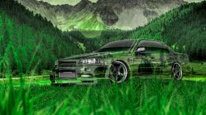 nissan gtr r34 crystal nature car