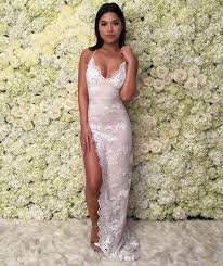 Lace Evening Dresses Mermaid Prom Dress Sexy Side Slit Party Dress Long Formal Dress